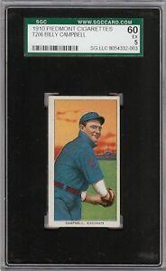 Rare 1909-11 T206 Billy Campbell Piedmont 350 Cincinnati SGC 60 / 5 EX