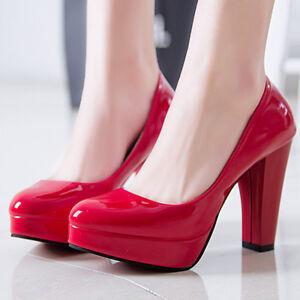 Women-Pumps-Platform-Drag-Queen-Black-High-Heels-Shoes-Patent-Leather-Form-Work