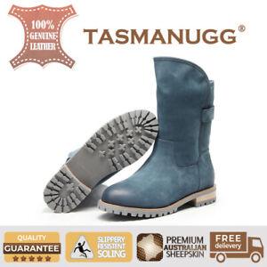 bf9e3e97350 Details about Tasman UGG -Patent Knight boots,Australian  Sheepskin,Antislip,women/ladies,Navy