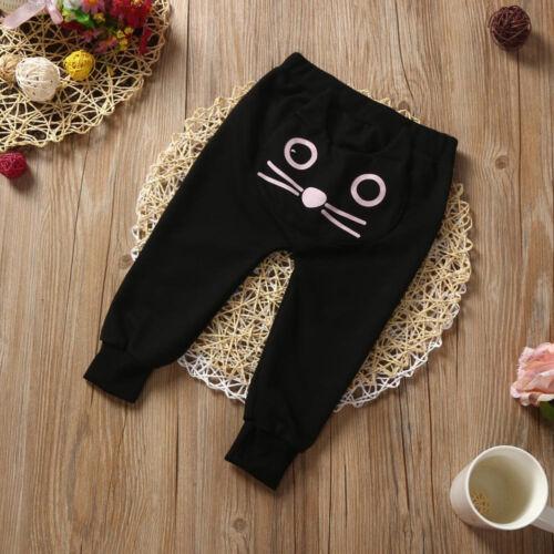 Cute Toddler Baby Children Kids Boys Girls Cat Harem Pants Long Cotton Trousers