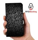 RFID Protected Black Fern PU Leather Phone Wallet Case Cover for Samsung Galaxy