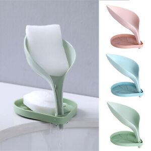 Bathroom Kitchen Leaf Shape Soap Holder Self Draining Soaps Box Drainage New