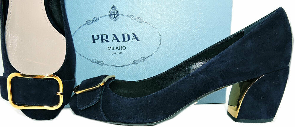 Prada Navy bluee Suede Buckle Low Heel Pumps Classic shoes 38.5 gold Trim