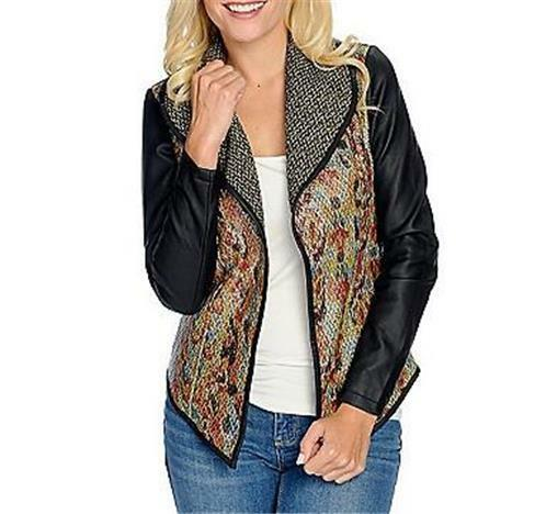 NEW Kate /& Mallory® Tweed Woven Faux Leather Trim Shawl Collar Open Front Jacket