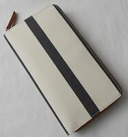 Fossil Key Black White Stripe Coated Canvas Nylon Per Zip Clutch Wallet