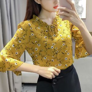 Women-Summer-Casual-Flare-Sleeve-Floral-Print-Chiffon-Blouse-T-Shirt-Ladies-Top