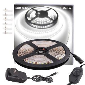 16ft 5m 600 Led Smd 2835 Dimmable Strip Light Under Cabinet Tv Back Lighting Us Ebay