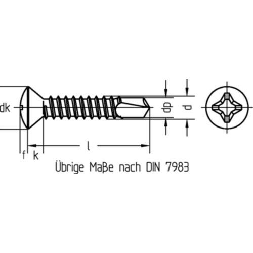 DIN 7504 Stahl galv verz Bohrschrauben Linsensenkkopf-R-H DIN EN ISO 15483