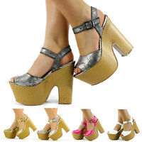 WOMENS HIGH HEEL PLATFORM CUT OUT WEDGE PEEP-TOE ANKLE STRAP SHOES SIZE 3-8 DARA