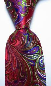 New-Classic-Paisley-Red-Blue-Green-White-JACQUARD-WOVEN-Silk-Men-039-s-Tie-Necktie