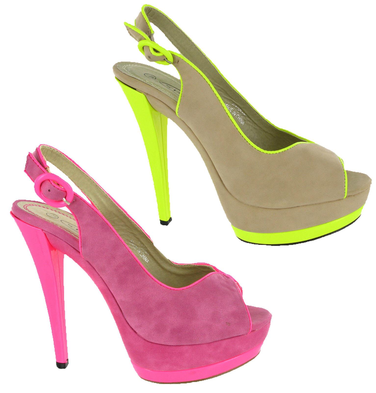 Ladies High Heels Platforms Fluorescent Party Court Peep Toe Womens Shoes UK 3-8