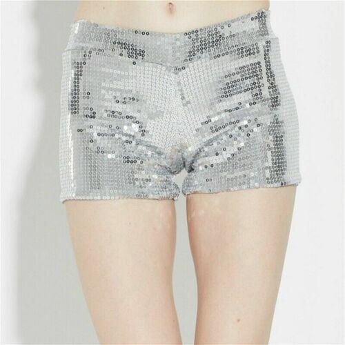 Damen Pailletten Mini Tanz Party Glänzend Hotpants Glitzer Enge Kostüme