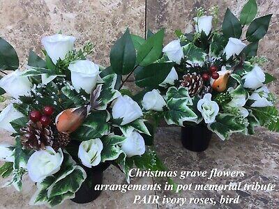 Xmas Grave Pot Artificial Flower Memorial Arrangements Bird Graveside Tribute X2 Ebay
