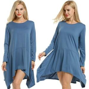 Women-Casual-Long-Sleeve-Asymmetrical-Swing-Hem-Tunic-Dress-W2YN