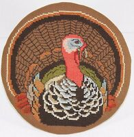 Thanksgiving Turkey Wreath Acorn Border 1986 Cross Stitch Completed Mounted