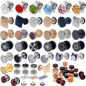 1-Pair-Surgical-Steel-Fake-Cheater-Earring-Stud-Ear-Plug-Flesh-Tunnel-Piercing