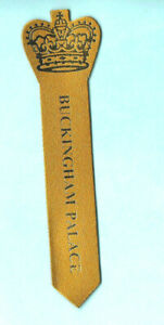 BOOKMARK-LEATHER-Buckingham-Palace-London-Queen-Elizabeth-II-Gold-Royal-Crown
