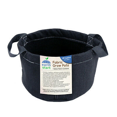 5 Pack 1 Gallon Earth Start Fabric Grow Pots Bags Growing Smart Pruning - B041