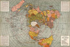 1943 Flat Earth World War Ii Map Polar Azimuthal Equidistant