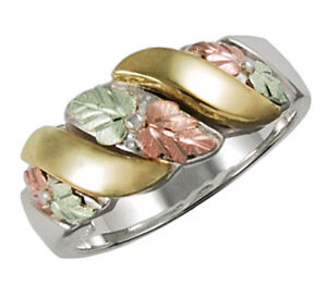 Black-Hills-Gold-on-Sterling-Silver-Ladies-Wedding-Band-Ring-Size-4-10