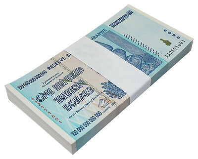 Zimbabwe 100 Trillion Dollars X 100 Pieces (PCS), AA/2008, P-91, UNC, Bundle