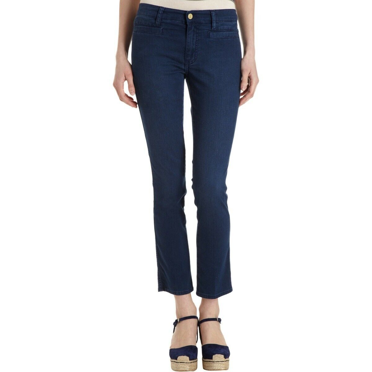 MiH Jeans  The Paris Jean Mid Rise, Cropped Slim Leg In Christie Dark Wash  215