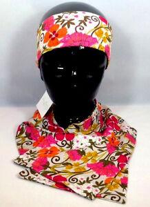 Vera Bradley Tea Garden Scarf Headwarmer Knit Flower Pink Breast Cancer Set Of 2