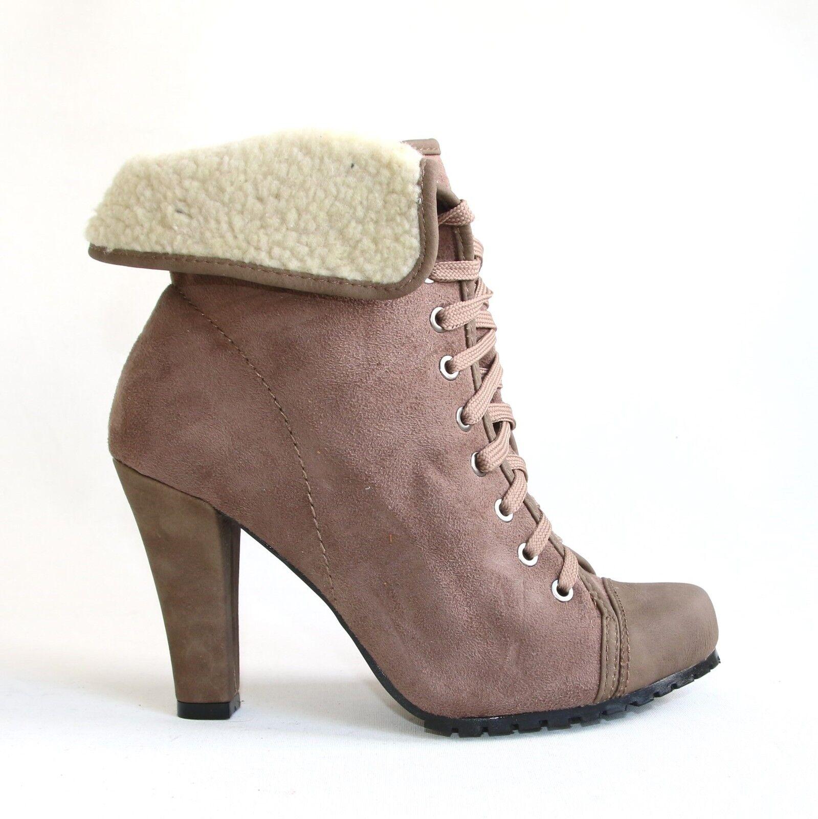 Damen Stiefeletten Braun 39 Damenschuhe Halbschuhe Boots Pumps High Heels LS-84.