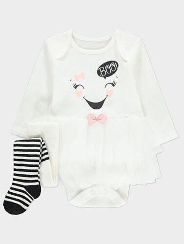 Bébé Filles 2 Pièce Halloween Fantôme Tutu Body Collants 0-18 Mois