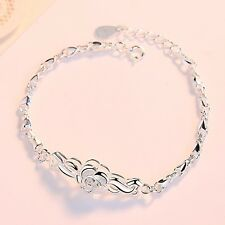 Pure S990 Sterling Silver Chain Women Lucky Kiss Fish Bead Link Bracelet
