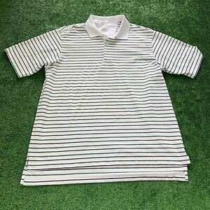Adidas-Climalite-Polo-Size-Large-Men-039-s-White-Black-Green-Stripes-Golf