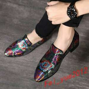 Men-039-s-Clubwear-Embroidery-Loafers-Slip-On-Leather-Floral-Pointy-Toe-Metal-Shoes