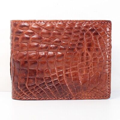 Genuine Crocodile Alligator Skin Leather Men Bifold Wallet Black #WM0223