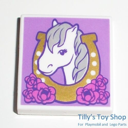Horses Head /& Horseshoe 2x2 Thin Printed Tile Lego Friends ID 26675 NEW