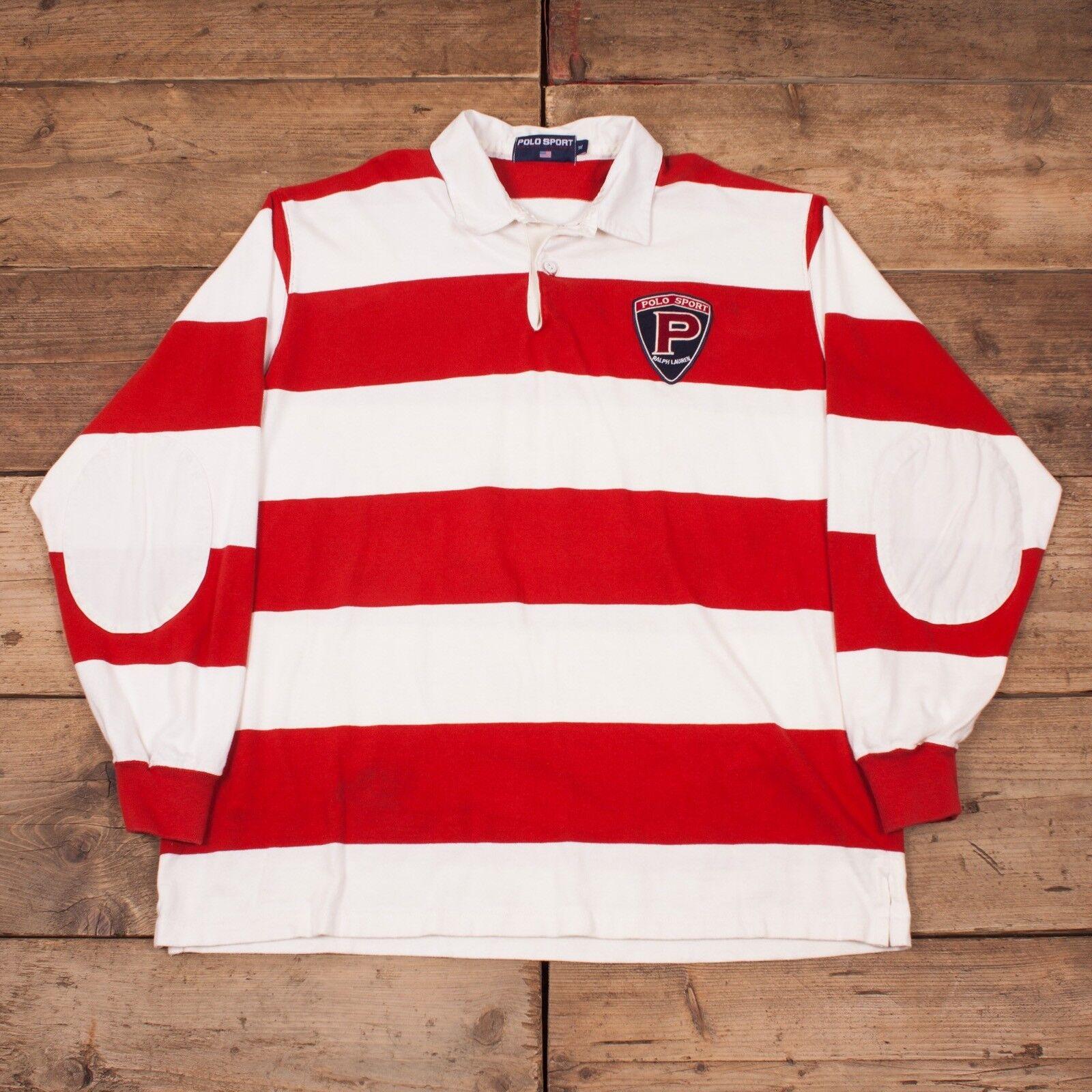 "Herren Vintage Polo Sport Ralph Lauren Rugby Jersey Sweatshirt Jumper XL 48"" R8846"