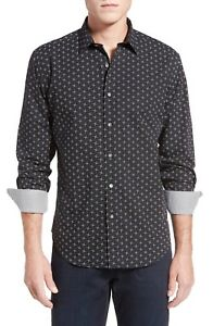 BUGATCHI-Shaped-Fit-Print-Sport-Shirt-NWT-Black-White-NWT