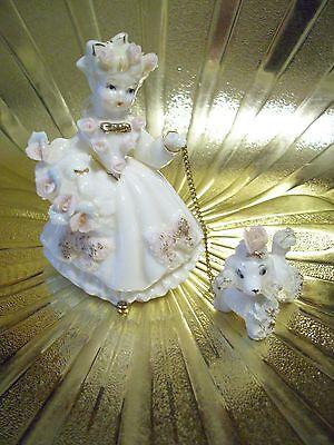 VTG Lefton Southern Belle Princess Shopper Girl w/ Poodle Pink Roses Figurine