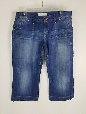 Honesty Womens Size 9/10 Maurices Brand Blue Denim Stretch Distresses Capri Pants Ha1 Quality And Quantity Assured Clothing, Shoes & Accessories