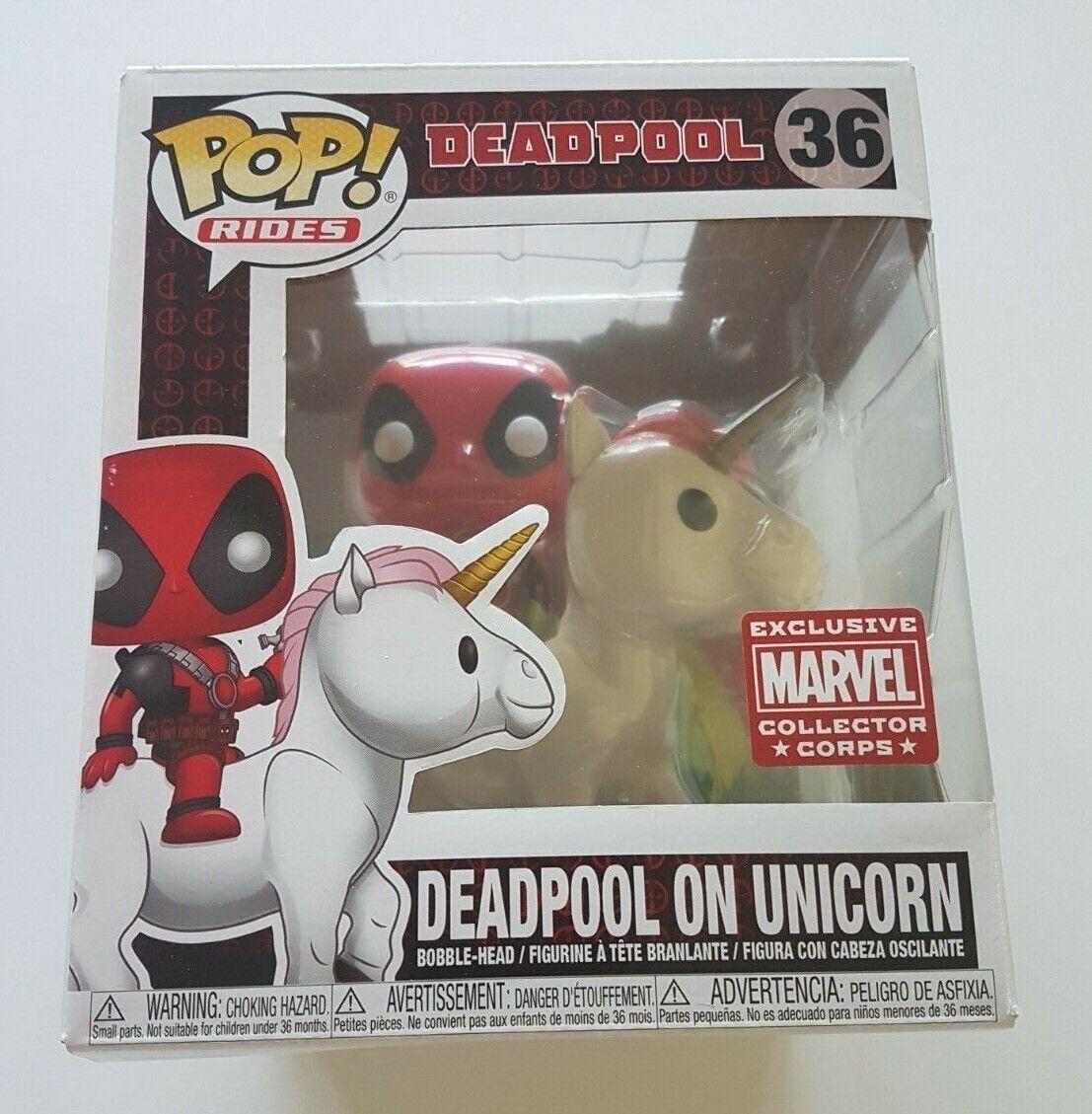 Funko Pop paseos 36 Deadpool en Unicornio Marvel Coleccionista Corps Exclusivo