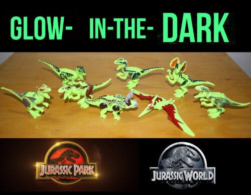 Glow in the Dark 8 Dinosaurs fit Lego Jurassic World Dinosaur Park Trex Dino