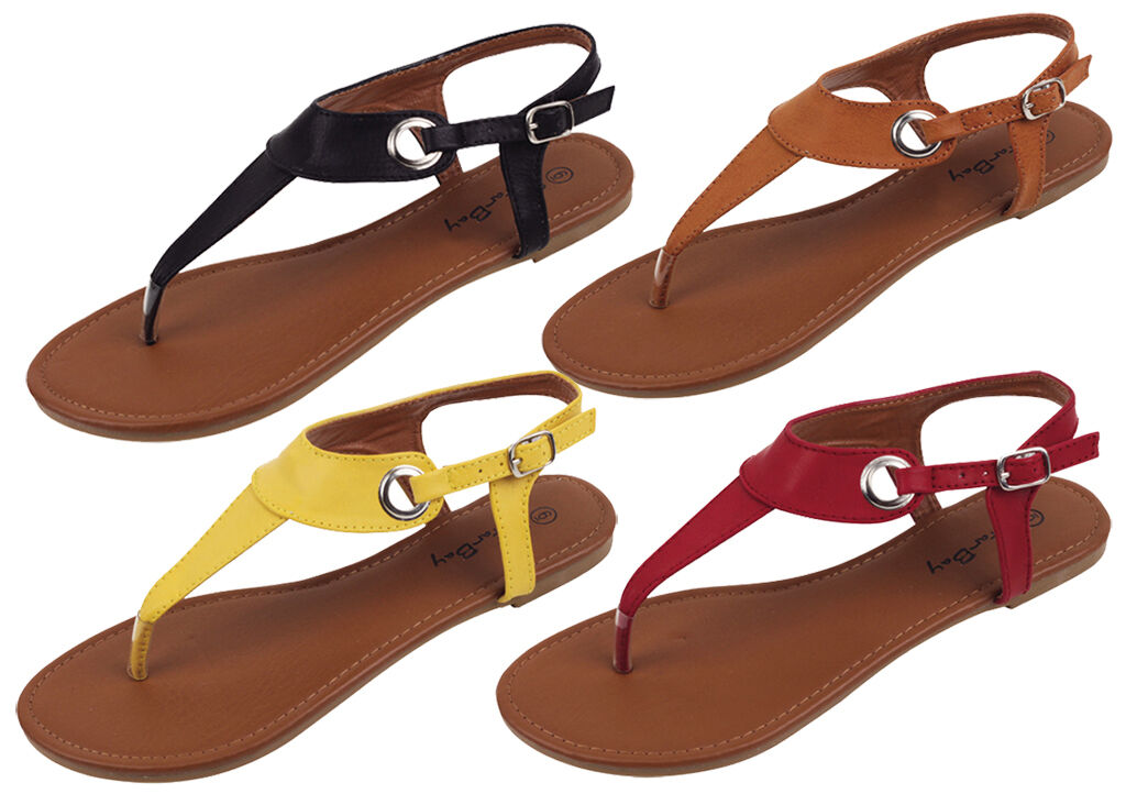 New Sandals Women's Fashion T-Strap Gladiator Sandals New Flip Flops Buckle On Sz 6 to 11 f4ee34