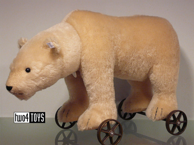 Steiff Ltd POLAR BEAR ON WHEELS REPLICA 1910 - EAN 400544 RETIrosso NIB