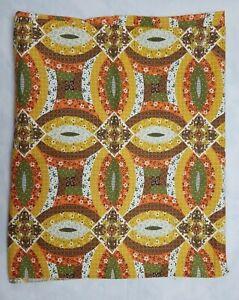 Vintage Calico Print Patchwork Fabric Harvest Yellow Green Orange 43 x 67 Retro