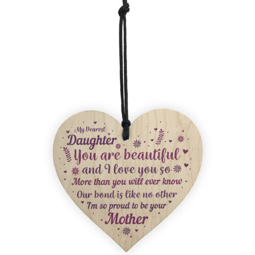 Mother And Daughter Gifts Wood Heart Plaque Christmas Birthday Gift For Daughter