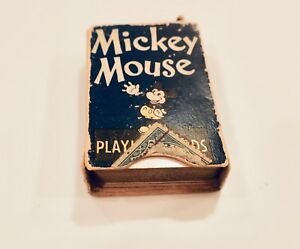 VINTAGE-1930S-DISNEY-MICKEY-MOUSE-MINIATURE-PLAYING-CARDS-COMPLETE-SET
