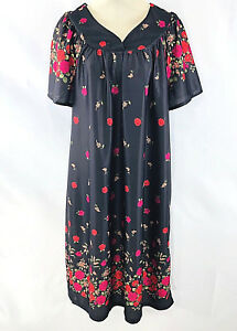 11f023494fb4 Image is loading Anthony-Richards-Womens-MuuMuu-M-Black-Floral-Satin-