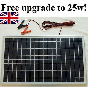 25w-Solar-Panel-for-20w-price-12v-Charger-w-4m-cable-BLOCK-Diode-amp-Battery-Clip