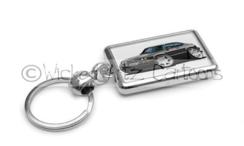 RetroArtz Cartoon Car Ford Capri 2.8i in Black Premium Metal Key Ring