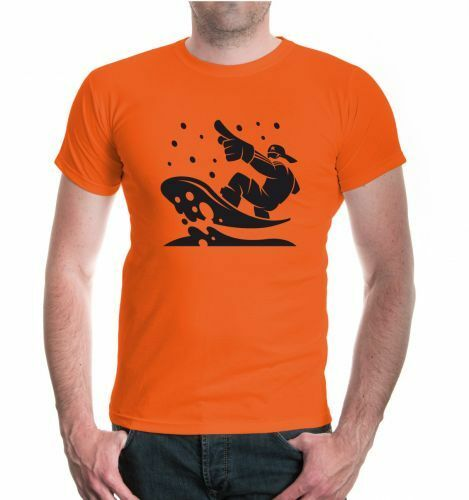 Herren Unisex Kurzarm T-Shirt Snowboarding Comicfigur Snowboard Wintersport