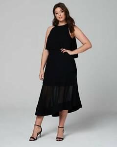 Black and white midi dress size 18